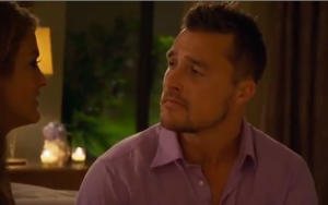 chris soules reacting to becca tilley's confession on the bachelor