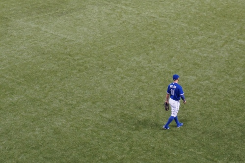 Kevin Pillar making sure everyone knows he should be in left field